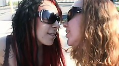 Leighlani Red and Isis Ray using their tongues to please 5 guys