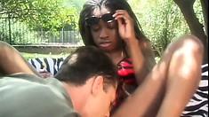 Monique Moore is a horny black slut who loves hard white cock