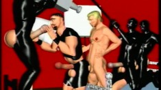 Kinky sex adventures of animated gay men with enormous shlongs