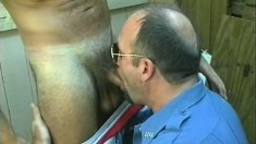 Two hot gay lovers take turns offering each other awesome blowjobs