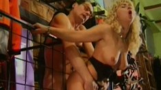 Dazzling blonde gets on top of a hard dick and rides it with intensity