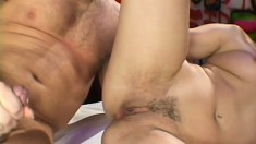 Two sultry brunettes share a throbbing cock and swap the huge cumload