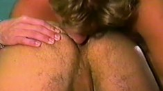Blonde cocksucker pleases himself while his lover punishes his ass