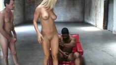 Elegant blonde with superb tits and ass Barbara gets double penetrated
