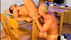 Four gay studs have an after work sex orgy and jerk off together
