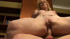 A horny housewife adores the feeling of a man's meat in her gash