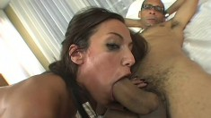 Freaky skinny bitch gets split by a massive cock in a POV video