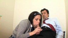 Jessica Right gets her tight pussy licked and drilled by an older guy