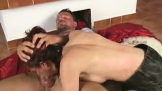 Silvie gets pumped a bit and then goes down on him and blows his rod