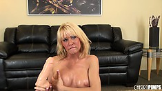 Curvaceous blonde Mikki Lynn has a big appetite for thick penises