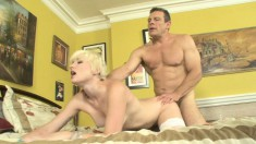 Blonde babe Nora Sky is eager to ride her lover's jackhammer