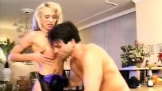 Buxom blonde milf Petha works her fiery anal hole on a throbbing stick