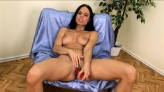 Alluring Brunette With Amazing Boobs And Ass Alex Fucks A Red Dildo