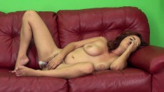 Enchanting redhead Ashlee puts her body on display and pleases herself