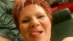 Insatiable redhead cougar Magdolna worships and fucks a cock POV style