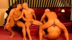 Sexy gay dude invites three horny boys to punish his tight anal hole