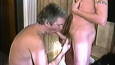 Young stud goes for the older type and blows him before ass fucked