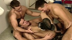 Pretty army stud gets drilled hard in the toilet by two hung stallions