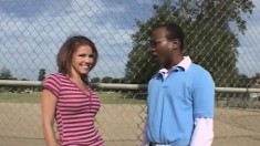 Gorgeous blonde schoolgirl Vanessa Vexxx struggles with a black prick