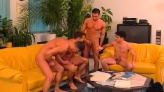 Four cock hungry gays get naked to eat meat and drill some butt