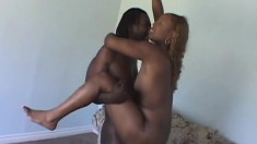 Big booty ebony hooker gets her snatch licked and fucked on the couch