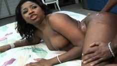 Dark skinned cutie with big boobs fucks a black pole in every position