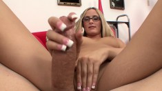Nerdy blonde Page Adams touches her sweet peach and strokes a big pole
