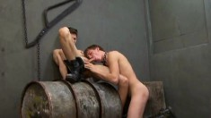 Two attractive twinks have fun with sex toys and enjoy some hard meat