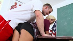 Naughty Blonde With A Hot Ass Gets Spanked And Fucked In The Classroom