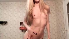 Small tit blonde amateur toys her pussy til orgasm