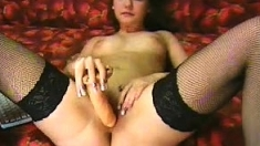 Wet And Wild As Hot Brunette In Stockings Naked In Solo Play