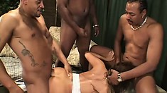 Black men stuff all orifices on the curvy body of Ava Devine