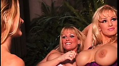 Busty lesbian babes outside having a romp when they see a Peeping Tom