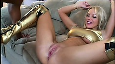 Busty blonde sucks a cock and fingers her twat while her gets drilled