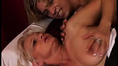 Naughty mature lady in white stockings gets fucked hard by a young stud