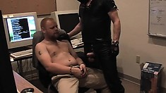 Submissive gay guy gets bent over and fucked by a horny masked stud