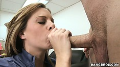 Naughty MILF gets caught masturbating on her desk and sucks the bosses cock