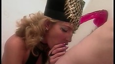 Sophie Evans reveals her cock sucking skills and then gets nailed hard