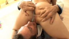 Slutty young brunette Gracie has her stepfather pounding her wet pussy