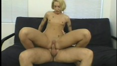 Fiona gets naked and rides him reverse cowgirl and swallows his load