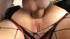 Trashy blonde in fishnet pantyhose has a stud roughly pounding her ass