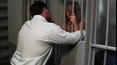 Shelley Rosenberg is put behind prison bars and fucked by hairy fellow