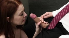 Redhead drilled on the doctors examination table