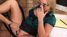 Cute blonde in glasses wanks him with her mouth, hands and feet