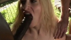 Slutty blonde milf Amber Williams has fun with four hung dudes outside