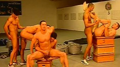 A big group of dudes get together for some sucking and fucking